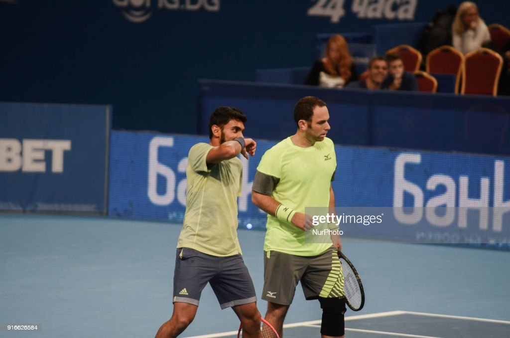 Divij Sharan (India) and Scott Lipsky (USA) celebrate a winning point for them. Robin Haase and Matwe Middelkoop of Netherlands win their 1/ 2 final match over Divij Sharan(India) and Scott Lipsky (USA) 64 62, during DIEMAXTRA Sofia Open 2018 in Arena Armeec Hall in Sofia, Bulgaria on February 10, 2018