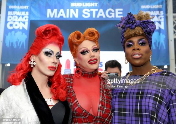 Divina De Campo Morgan McMichaels and Monet X Change attend RuPaul's DragCon UK presented by World Of Wonder at Olympia London on January 18 2020 in...