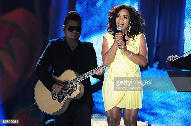 Divine Brown performs on stage during the 2009 Juno Awards at General Motors Place on March 29 2009 in Vancouver Canada