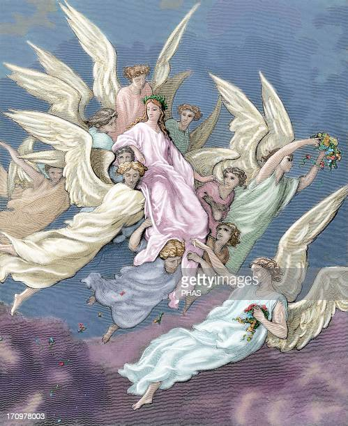 Divine Comedy. Epic poem written by Dante Alighieri between 1308 and his death in 1321. Thirtieth Canto of the Purgatory. Appearance of Beatrice....