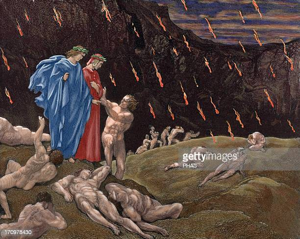 Divine Comedy Epic poem written by Dante Alighieri between 1308 and his death in 1321 Hell Brunetto Latini accosts Dante XV Canto Engraving by...