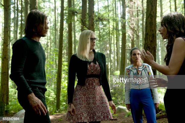 THE MAGICIANS 'Divine Elimination' Episode 203 Pictured Jason Ralph as Quentin Olivia Taylor Dudley as Alice Summer Bishil as Margo Stella Maeve as...