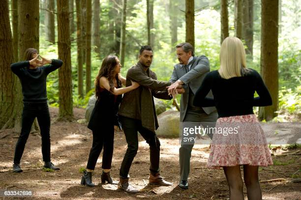 THE MAGICIANS 'Divine Elimination' Episode 203 Pictured Jason Ralph as Quentin Stella Maeve as Julia Arjun Gupta as Penny Charles Mesure as The Beast