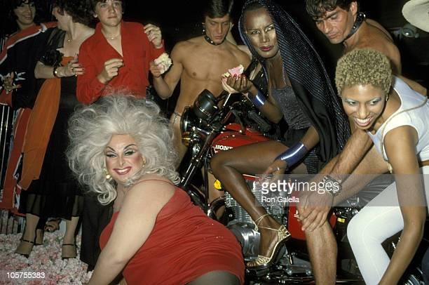 Divine Grace Jones and friends during Birthday Celebration for Grace Jones at Xenon Disco in New York City New York United States