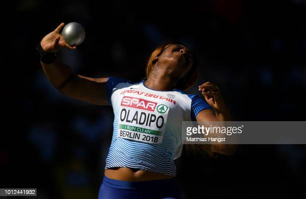 Divine Oladipo of Great Britain competes in the Women's Shot Put qualification during day one of the 24th European Athletics Championships at...