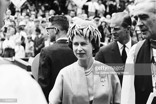 Divine Service at St Andrew's Cathedral Her Majesty Queen Elizabeth II leaves the church 3 March 1963