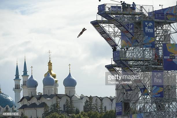 16th FINA World Championships Scenic view of miscellaneous Men's 27M High Dive action at Kazanka Venue View of Kazan Kremlin in background Kazan...