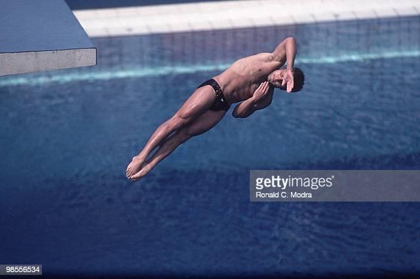1992 Summer Olympics USA Mark Lenzi in action during Men's 3M Springboard at Piscina Municipal de Montjuic Lenzi won gold Barcelona Spain 7/29/1992...