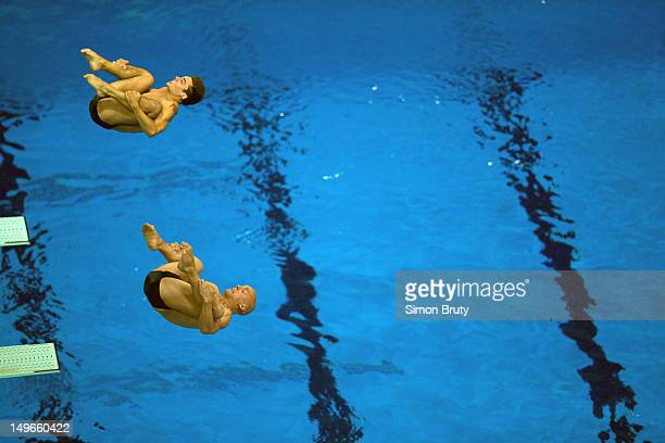 Summer Olympics: Great Britain Chris Mears and Nicholas Robinson-Baker in action during Men's Synchronized 3M Springboard Final at Aquatics Centre....
