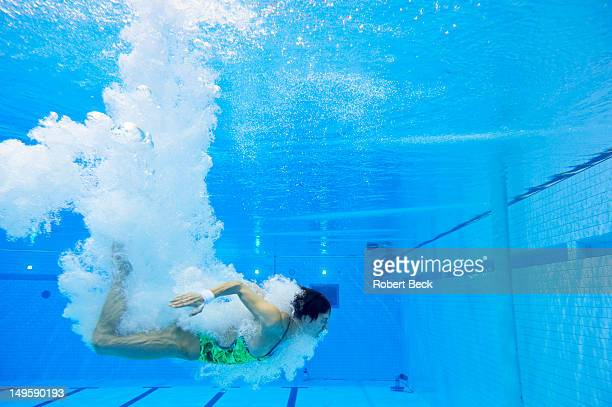 Summer Olympics: Underwater view of Germany Christin Steuer in action during Women's Synchronized 10M Platform Final at Aquatics Centre. London,...