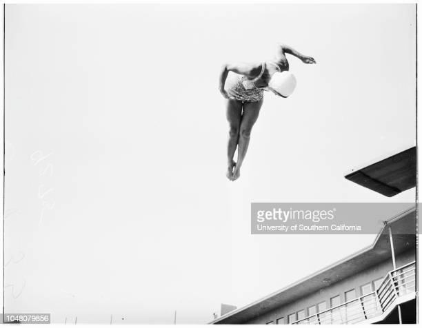 Diving at Country Club Hotel 14 July 1949 Billie GrantBridget BrowneMona KnoxJoyce ElaineHelen C Morgan Caption slip reads 'Photographer Jensen Date...