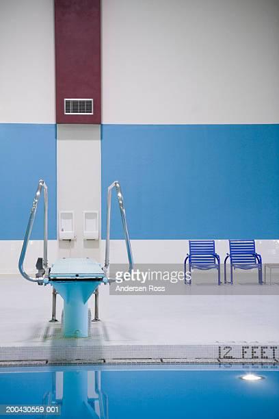 Diving board beside indoor swimming pool