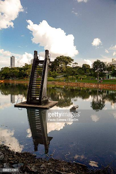 diving board in pond - goiania stock pictures, royalty-free photos & images