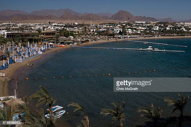 Diving boats are seen in the resort town of Naama Bay on April 1 2016 in Sharm El Sheikh Egypt Prior to the Arab Spring in 2011 some 15million...