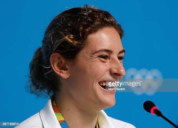 Diving bronze medallists for Women's 3m Synchronised Maddison Keeney of Australia attends a press conference on Day 3 of the Rio 2016 Olympic Games...