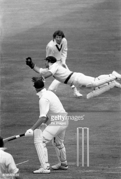 Diving catch from wicketkeeper Rodney Marsh dismisses Englands's Tony Greig for seven runs off the bowling of Gary Gilmour during the Prudential...