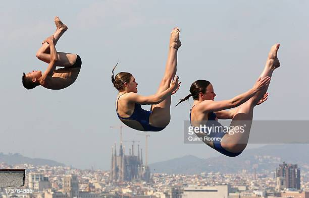 Diving competitors practice during a training session ahead of the FINA World Championships on July 18 2013 in Barcelona Spain