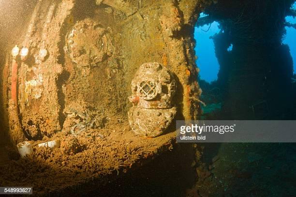 Diving Helmet on Brigde of USS Saratoga, Marshall Islands, Bikini Atoll, Micronesia, Pacific Ocean