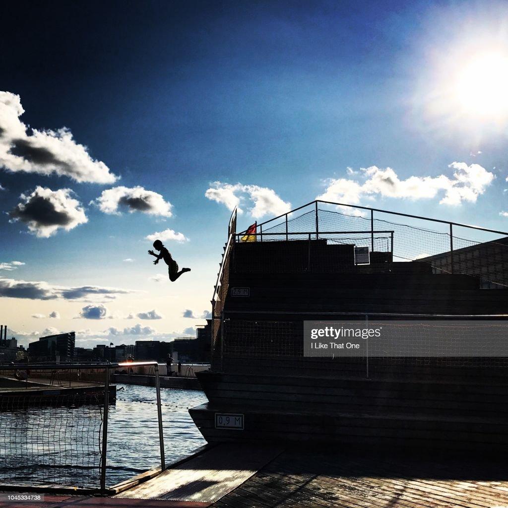 Diving in Copenhagen : Stock Photo