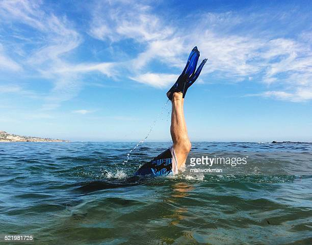 diving in sea - taken on mobile device stock photos and pictures
