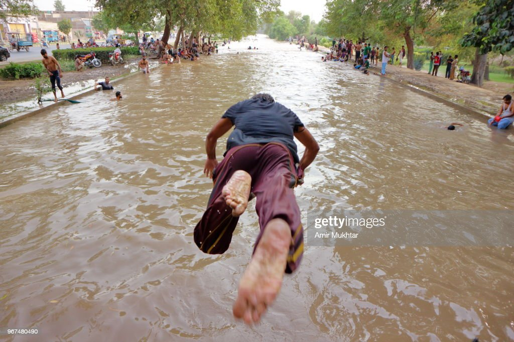 Diving into canal : Stock Photo