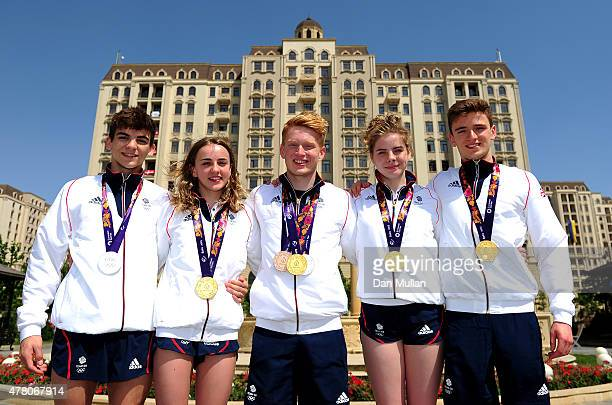 Diving medalists from Great Britain Ross Haslam Lois Toulson James Heatly Katherin Torrance and Matthew Lee pose with their medals at the Athletes...