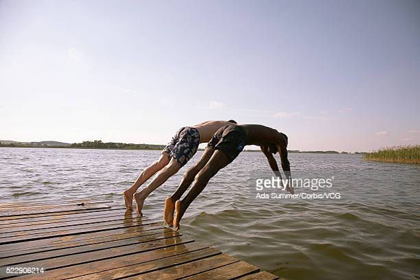 Diving off the dock