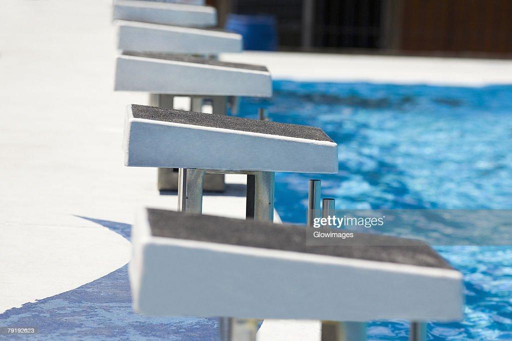 Diving platform at a swimming pool : Stock Photo