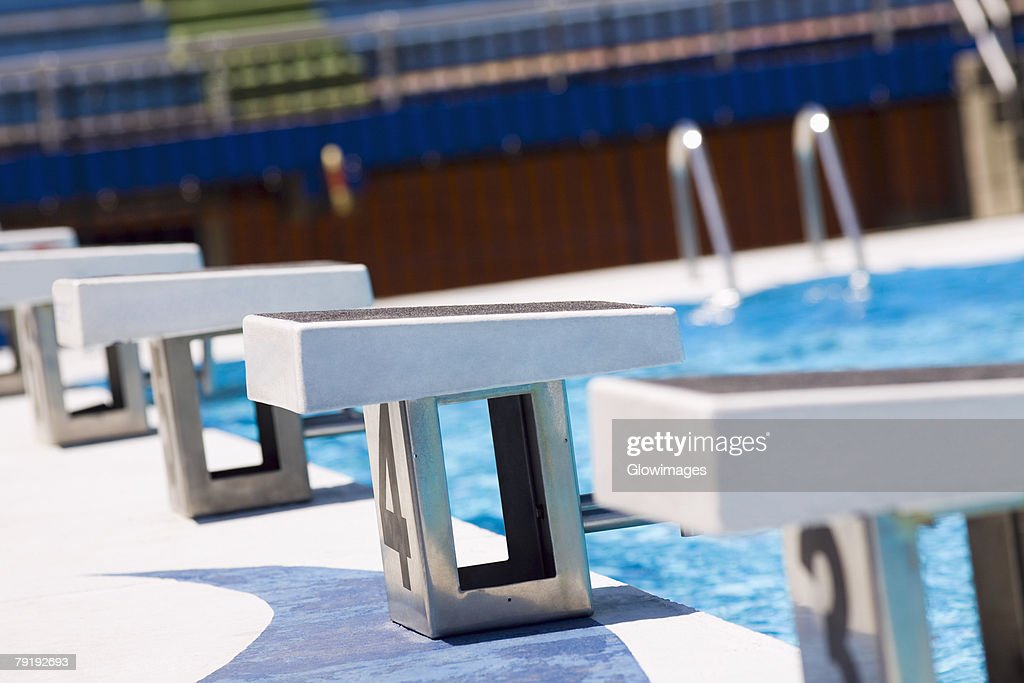Diving platform at a swimming pool : Foto de stock