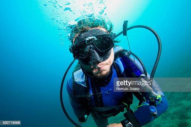 Diving, Portrait of Diver, Adriatic Sea, Croatia, Europe