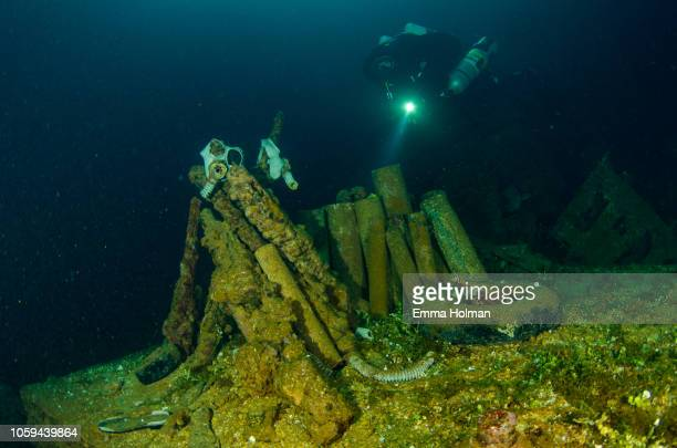 diving the fujikawa maru wreck - lagon chuuk photos et images de collection