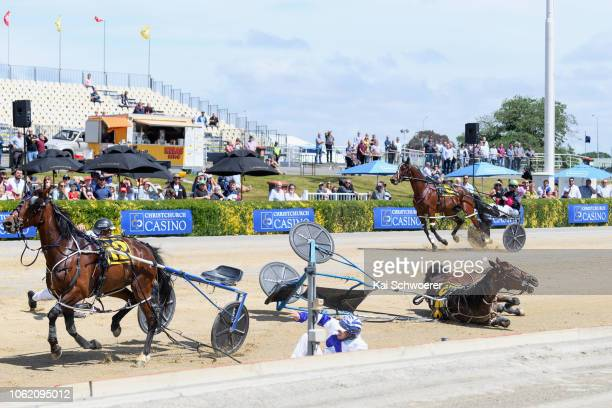 Divinia Bellezza driver Robbie Close driver Terry Chmiel and Held to Ransom are involved in a crash in race 5 Graphite Developments Show Day Futurity...