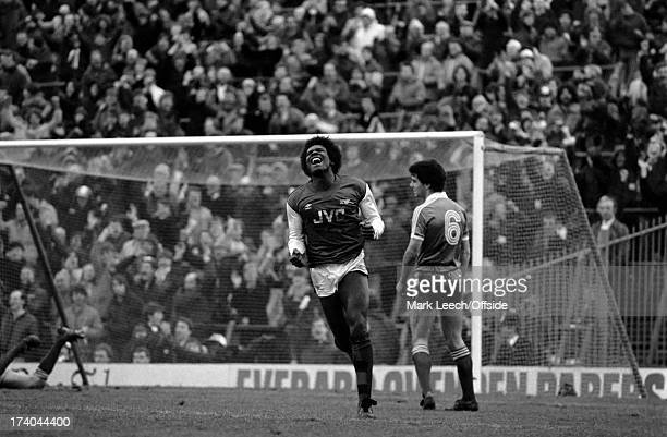 Division 1 football Arsenal 3 v Brighton and Hove Albion 1 February 1983 Raphael Meade celebrates after scoring for Arsenal