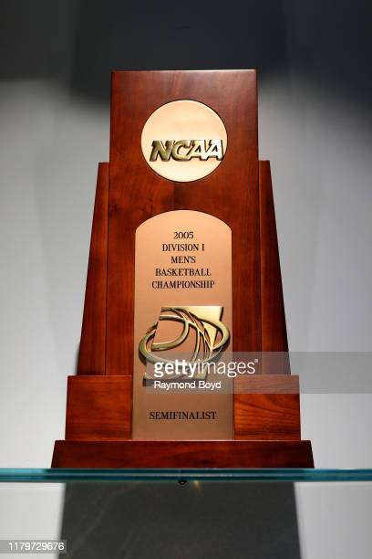Division I Menu2019s Basketball Championship trophy in the Tom Izzo 'Basketball Hall Of History' trophy room inside Gilbert Pavilion home of the...
