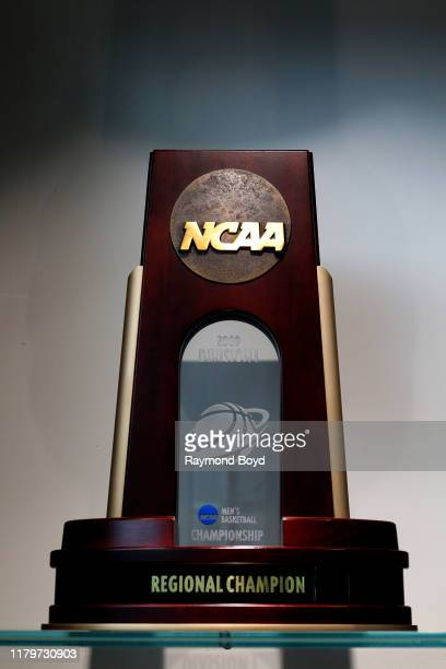 """Division I Men""""u2019s Basketball Championship trophy in the Tom Izzo 'Basketball Hall Of History' trophy room inside Gilbert Pavilion, home of the..."""