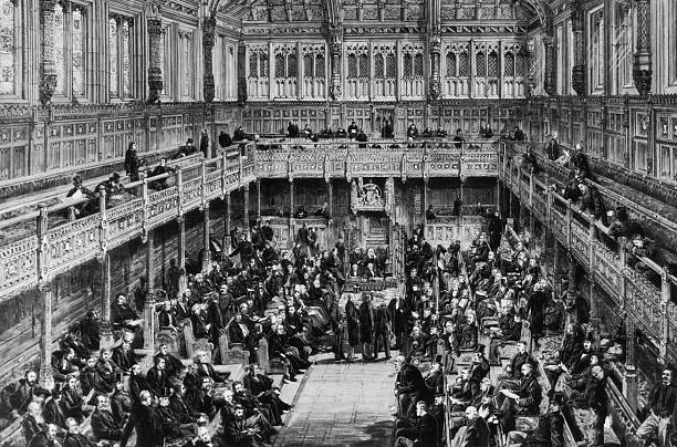 A division is taken in the House of Commons, London,...