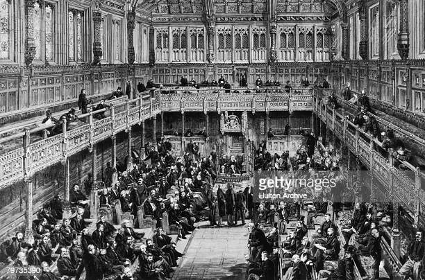 A division is taken in the House of Commons London circa 1875