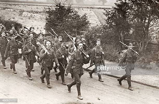 A division of Welsh soldiers on a training march in 1913