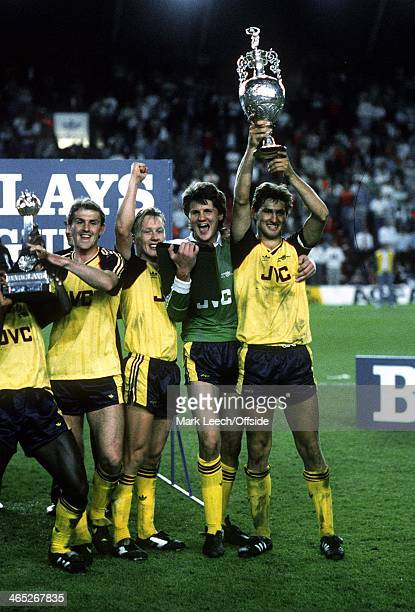 Division One Football Liverpool v Arsenal Arsenal celebrate winning the championship Tony Adams Lee Dixon John Lukic and Martin Hayes