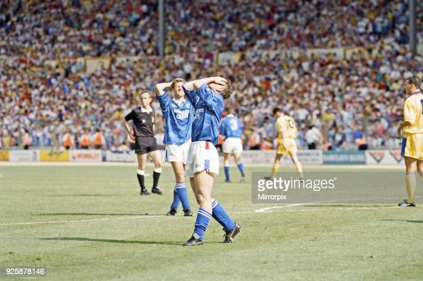 Division One PLay Off Final at Wembley Stadium. Blackburn Rovers 1 v Leicester City 0. Despair for Leicester players as they miss out on promotion to...