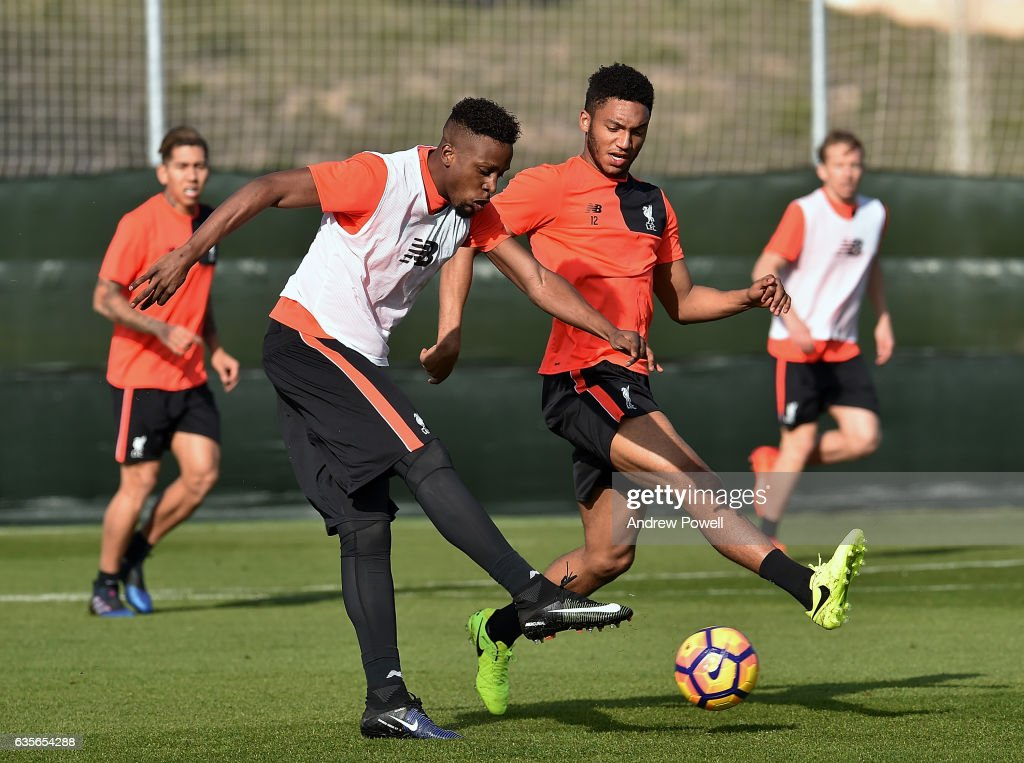Divock Origi and Joe Gomez of Liverpool during a training session at La Manga on February 16, 2017 in La Manga, Spain.