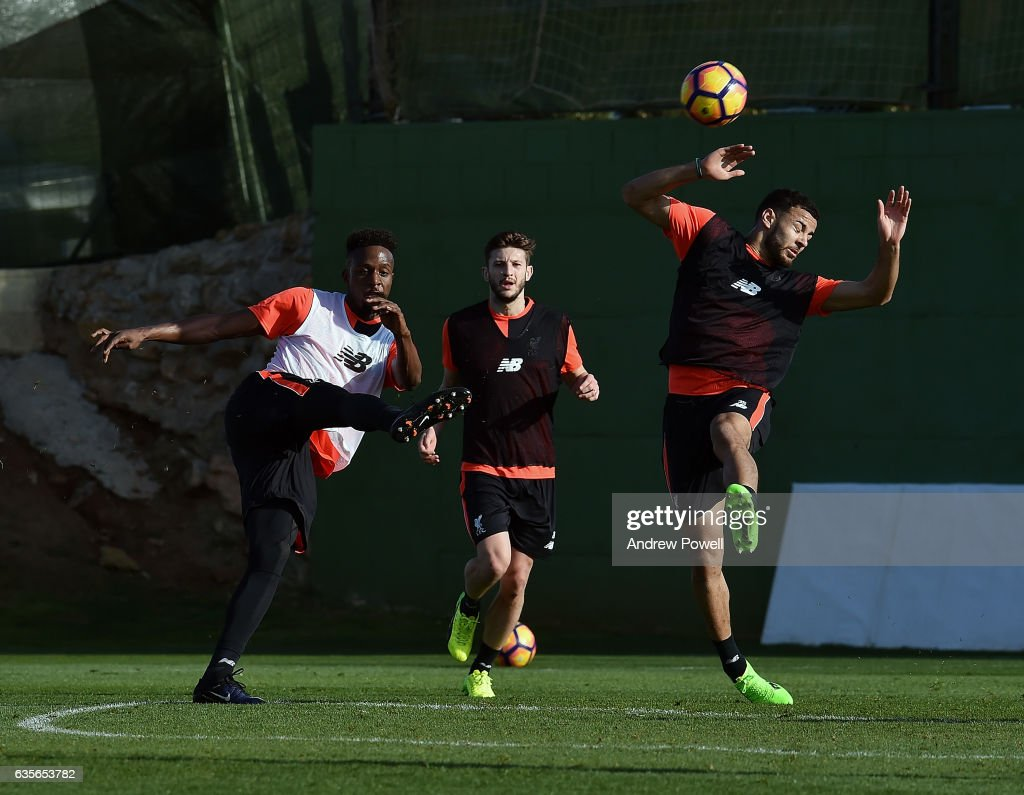 Divock Origi and Kevin Stewart of Liverpool during a training session at La Manga on February 16, 2017 in La Manga, Spain.