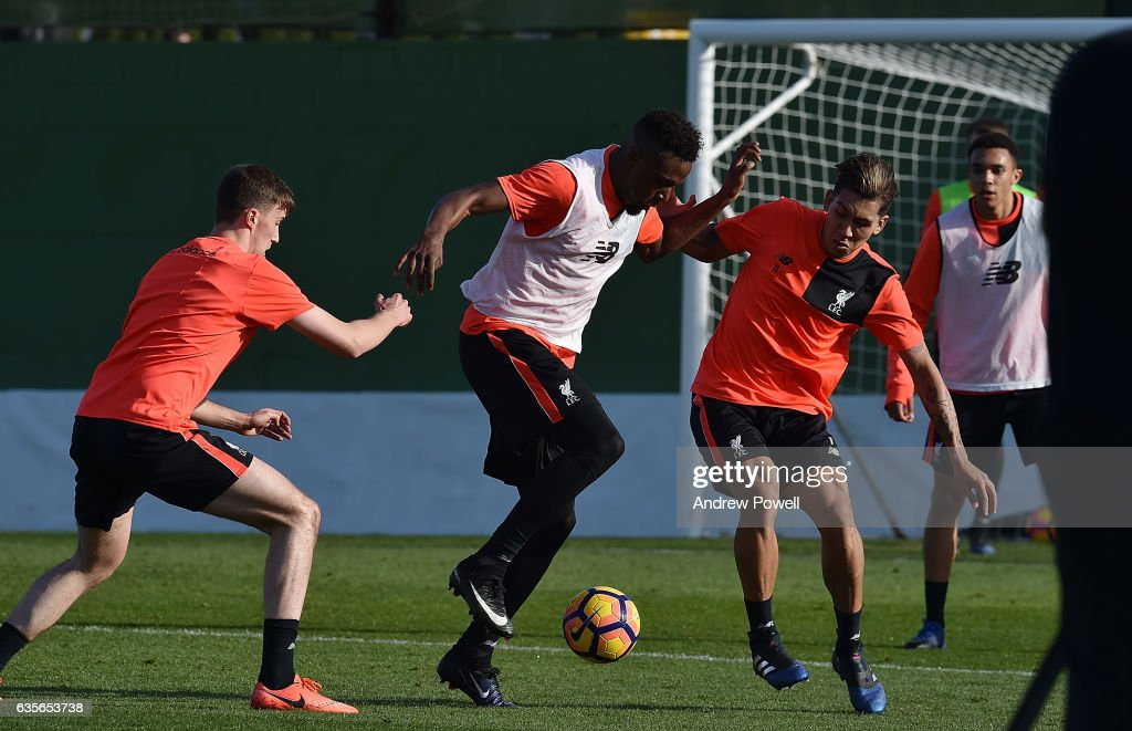 Divock Origi and Roberto Firmino of Liverpool during a training session at La Manga on February 16, 2017 in La Manga, Spain.