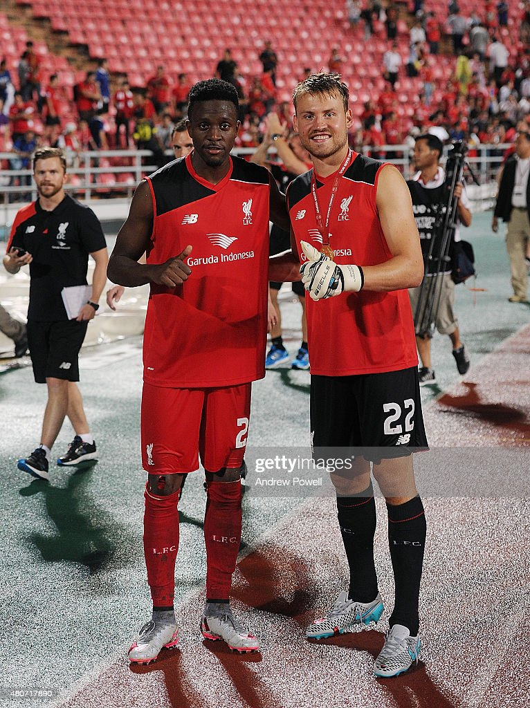 Divock Origi and Simon Mignolet of Liverpool during the international friendly match between Thai Premier League All Stars and Liverpool FC at Rajamangala Stadium on July 14, 2015 in Bangkok, Thailand.