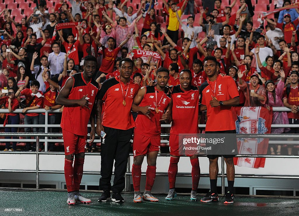 Divock Origi, Andre Wisdom, Jordon Ibe, Nathaniel Clyne and Joe Gomez of Liverpool during the international friendly match between Thai Premier League All Stars and Liverpool FC at Rajamangala Stadium on July 14, 2015 in Bangkok, Thailand.