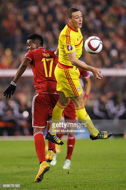 Divock Origi of Belgium and James Chester of Wales contest for the header during the Group B UEFA European Championship 2016 Qualifier match bewteen...