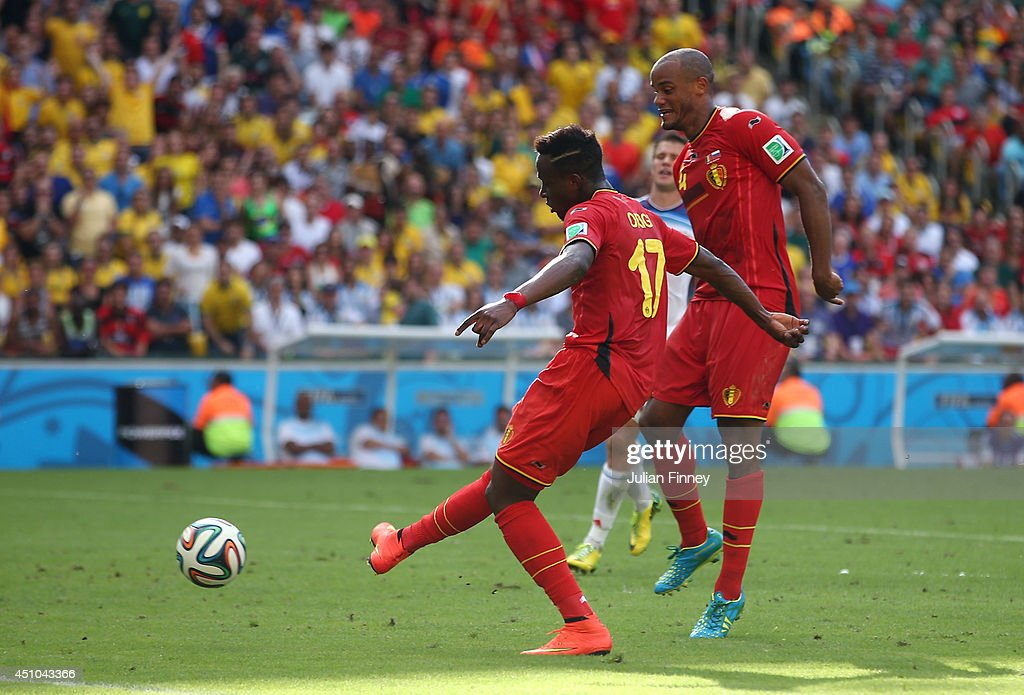 Divock Origi of Belgium scores his team's first goal during the 2014 FIFA World Cup Brazil Group H match between Belgium and Russia at Maracana on June 22, 2014 in Rio de Janeiro, Brazil.