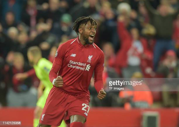 Divock Origi of FC Liverpool celebrates after scoring his team's fourth goal during the UEFA Champions League Semi Final second leg match between...