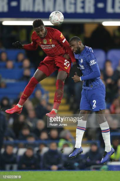 Divock Origi of Liverpool and Antonio Rudiger during the FA Cup Fifth Round match between Chelsea FC and Liverpool FC at Stamford Bridge on March 03...