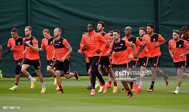 Divock Origi of Liverpool and his team mates during a training session at Melwood Training Ground on August 19 2016 in Liverpool England